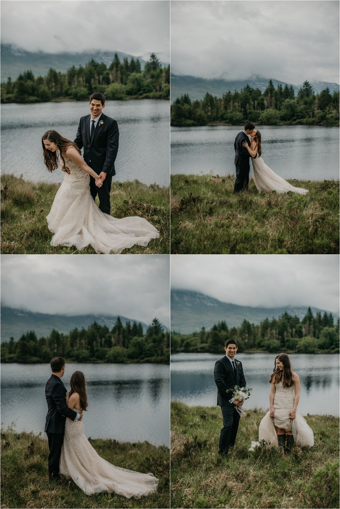 Bride and groom pictures by the lake at a castle in County Galway by No Other Love Photography