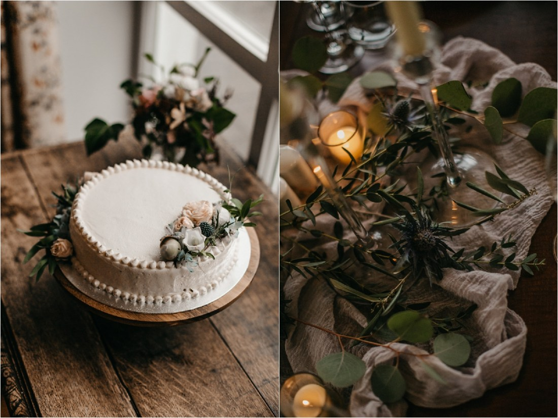 A simple rustic wedding cake by No Other Love Photography