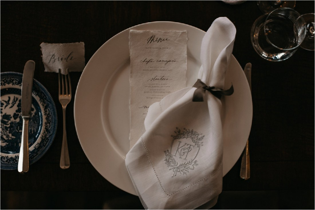 Personalised place setting for a castle wedding in County Galway by No Other Love Photography