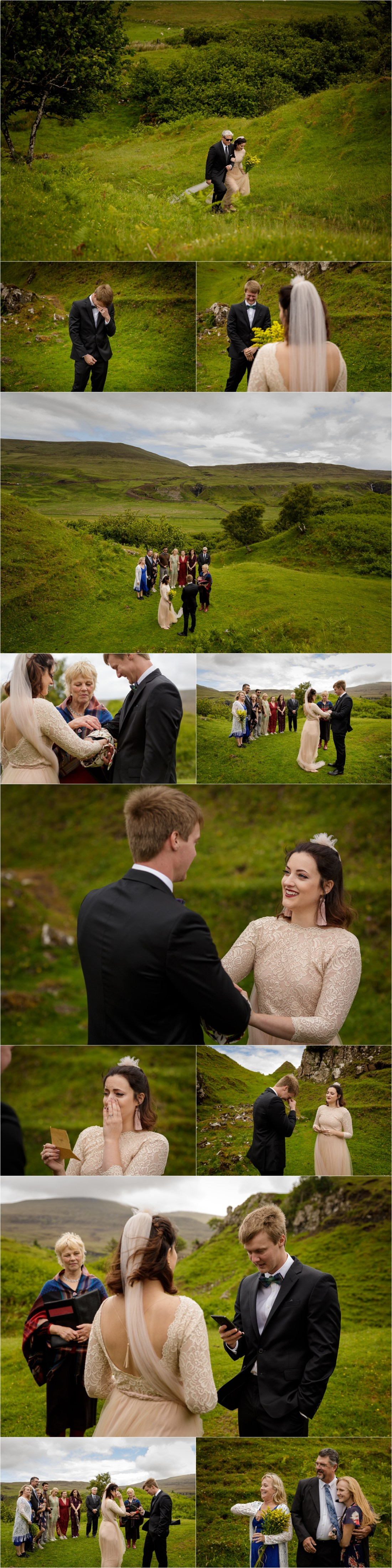 An emotional moment as the groom sees the bride for the first time at their Isle of Skye wedding by Lynne Kennedy Photography