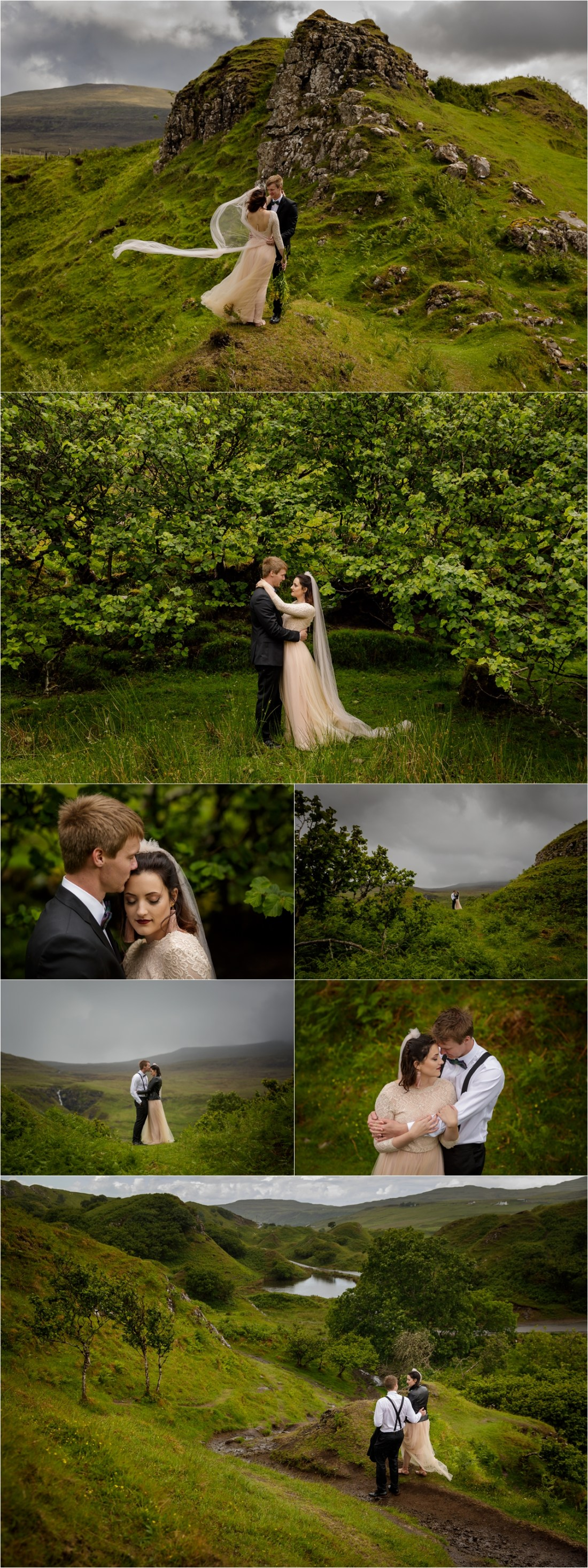Bride in a pink dress for her Isle of Skye intimate wedding by Lynne Kennedy Photography