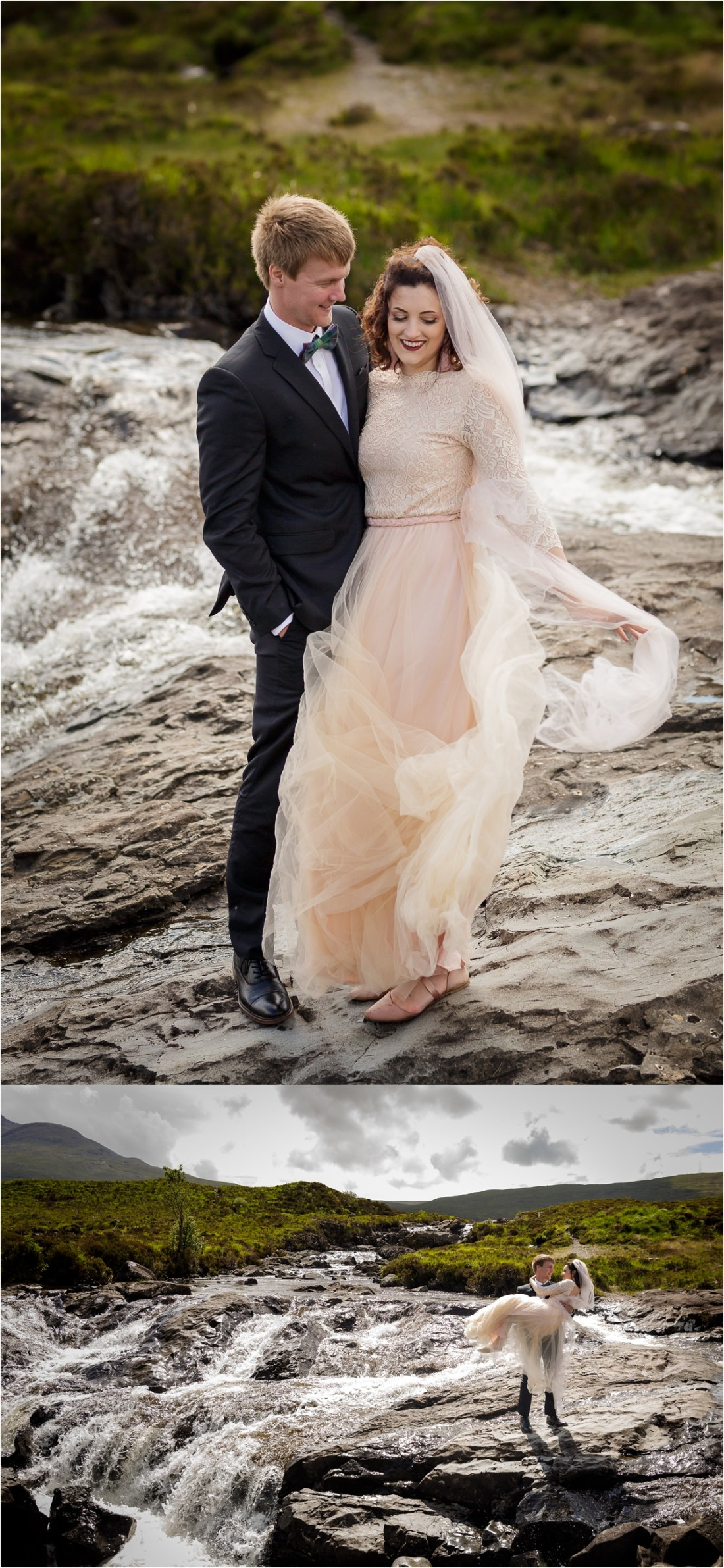 Wedding portraits by a waterfall on the Isle of Skye by Lynne Kennedy Photography