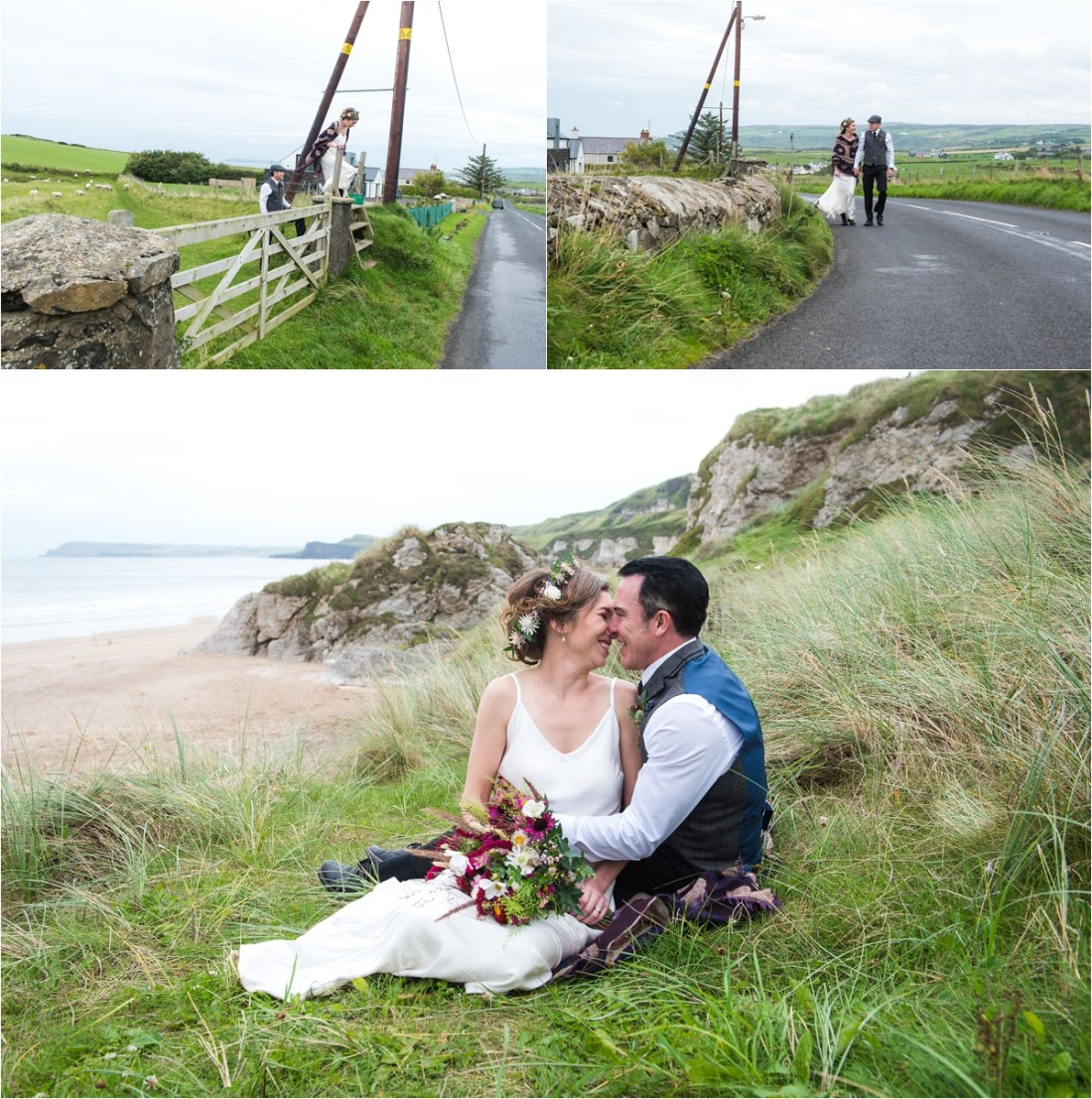 Bride & groom walk down a country lane by Collette Creative