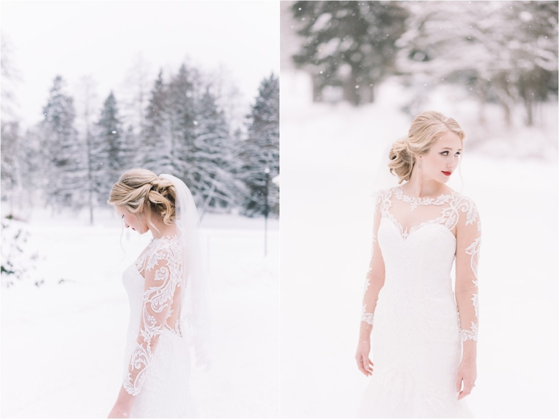 Bridal portraits in the snow by Lucie Watson Photography