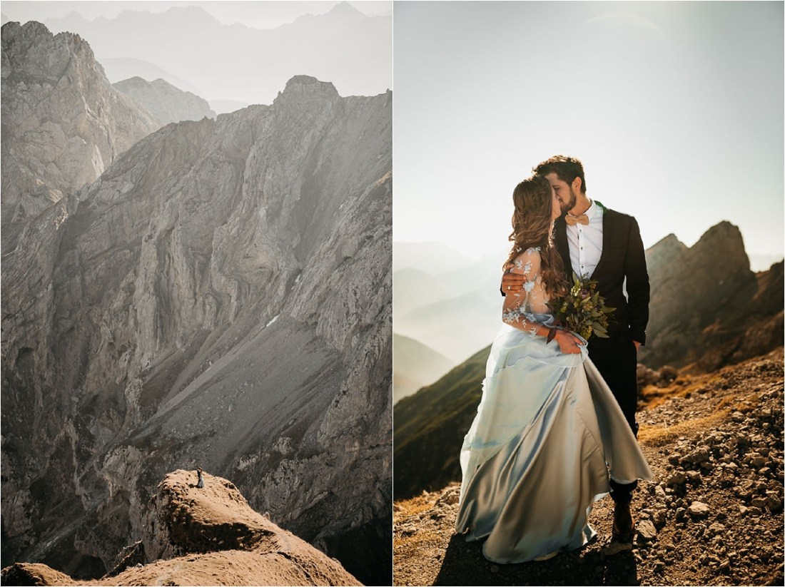 Bride and groom kiss in the Bavarian mountains at Sunset by Aneta Lehotska