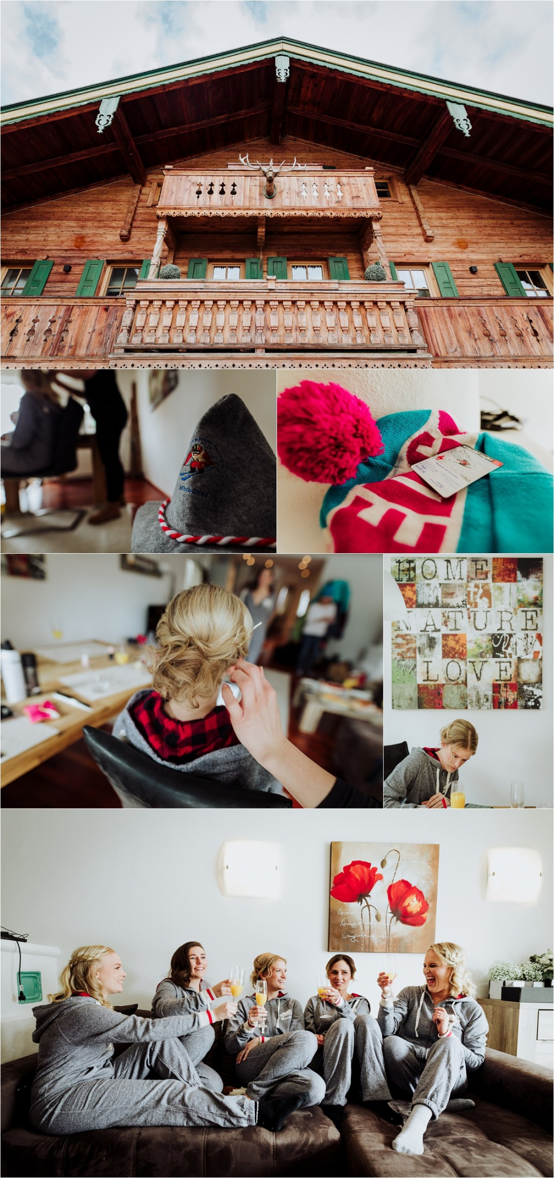 Emily & her bridesmaids getting ready at their ski chalet in Kitzbühel by Wild Connections Photography