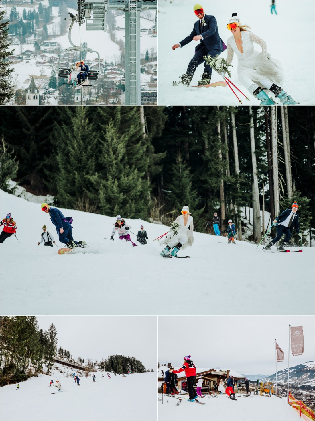 Bride and groom ski with their wedding party for their ski wedding in Kitzbühel by Wild Connections Photography