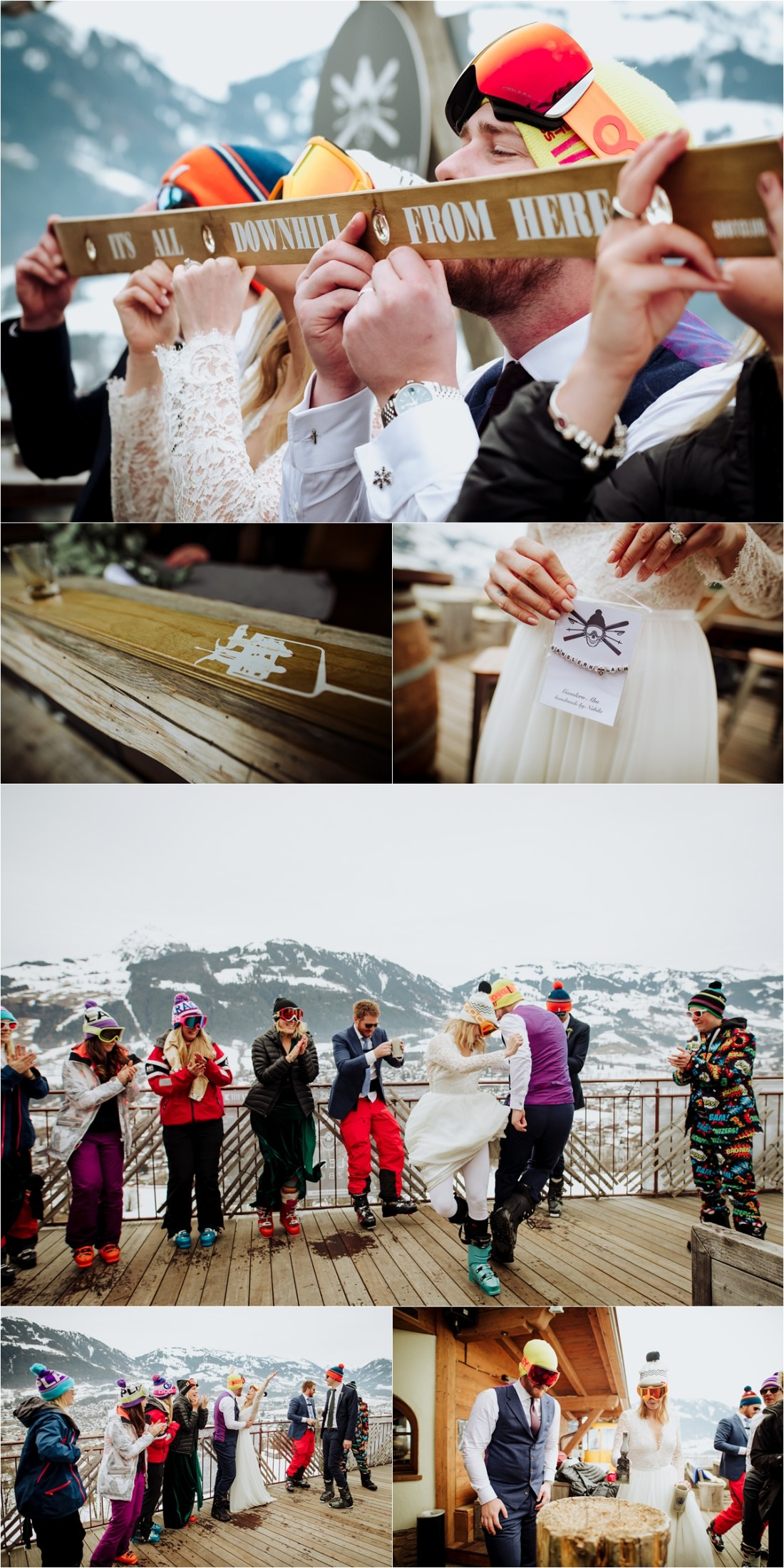 Apres ski celebrations at their ski wedding in Kitzbühel by Wild Connections Photography