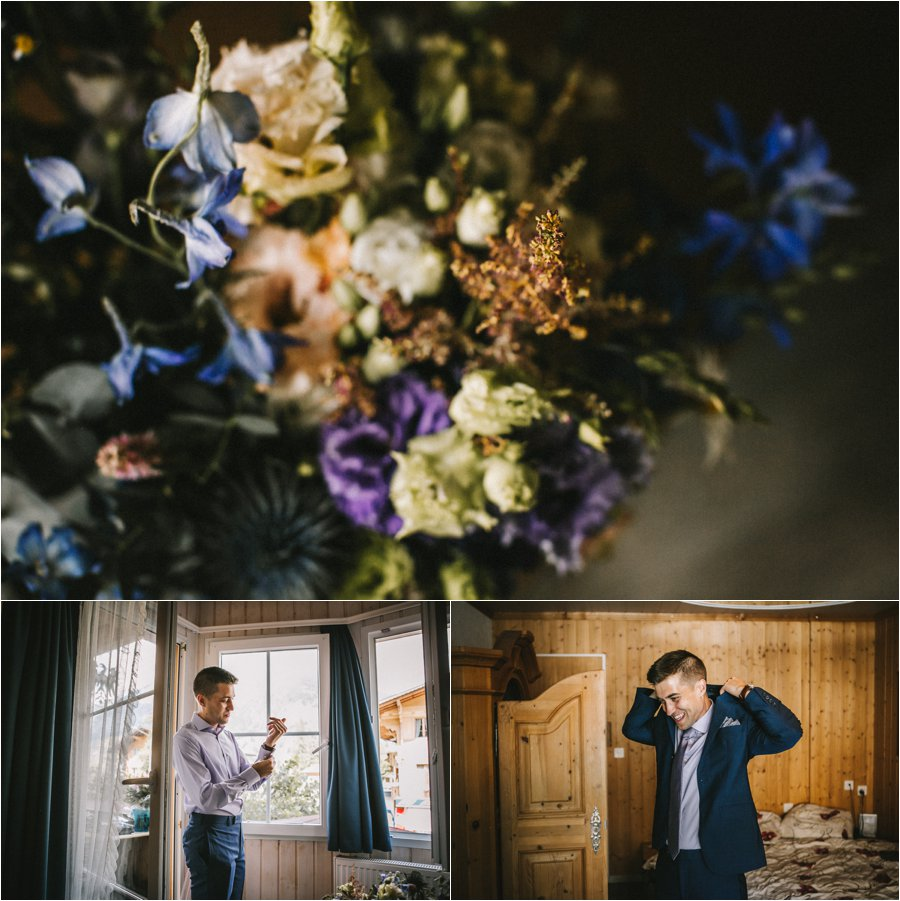 The groom getting ready for his Swiss elopement by Bendik Photography