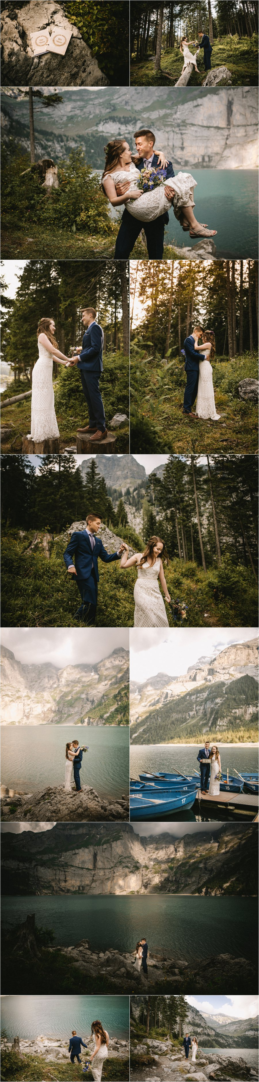 The newly weds walk through a forest in the Swiss Alps by Bendik Photography