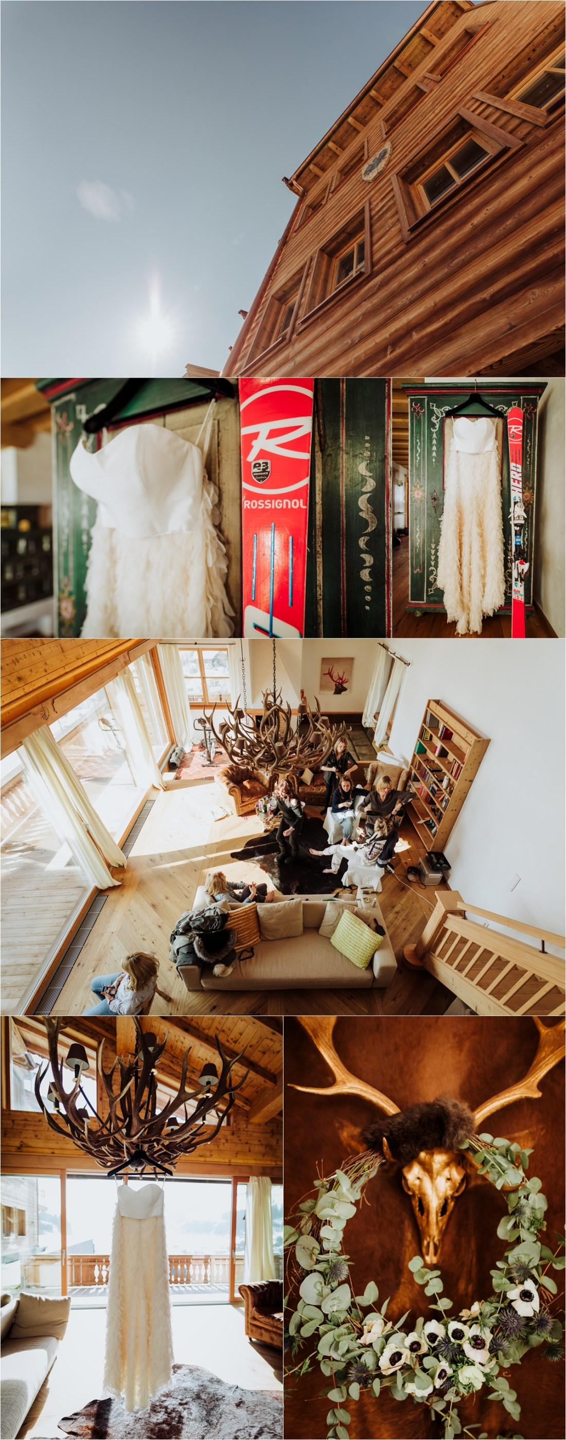 The bride gets ready in a ski chalet for her ski resort wedding in Austria by Wild Connections Photography