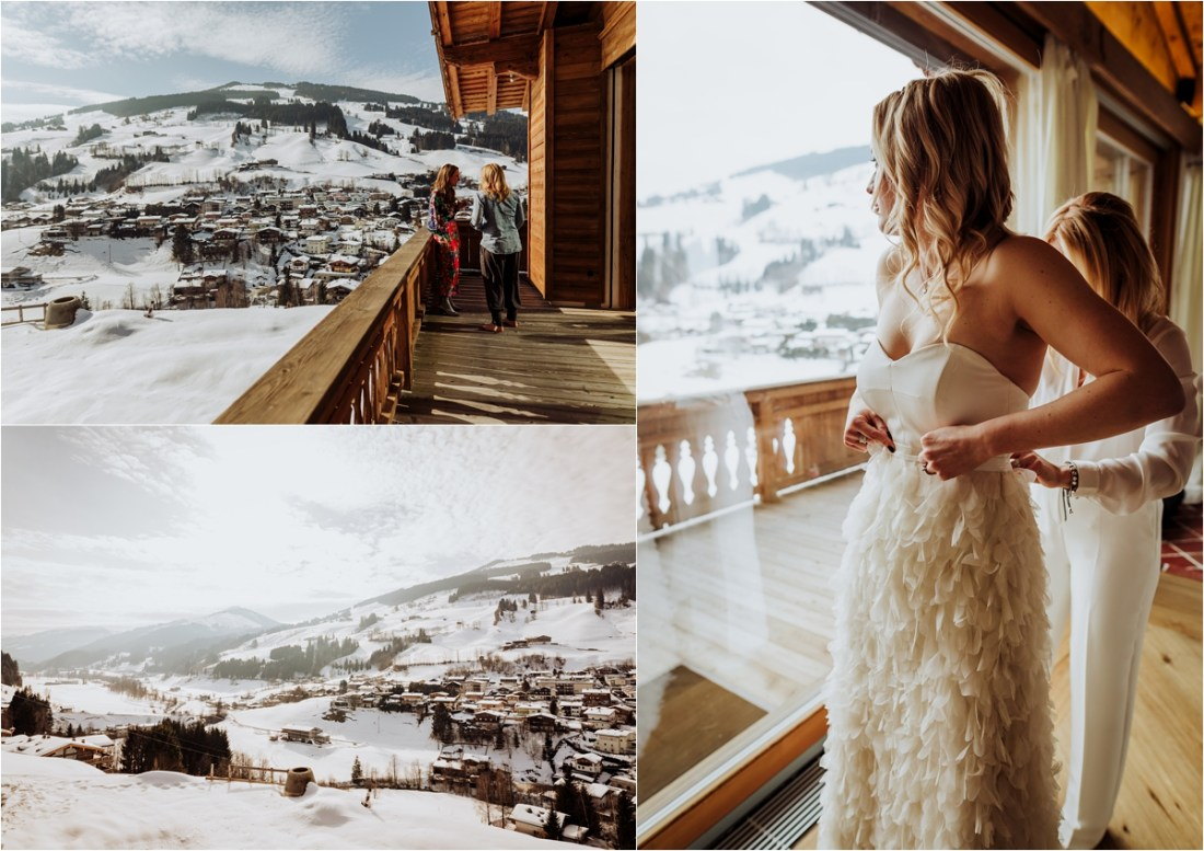 The bride wears a Halfpenny London two-piece wedding dress for her winter ski resort wedding in Austria xby Wild Connections Photography