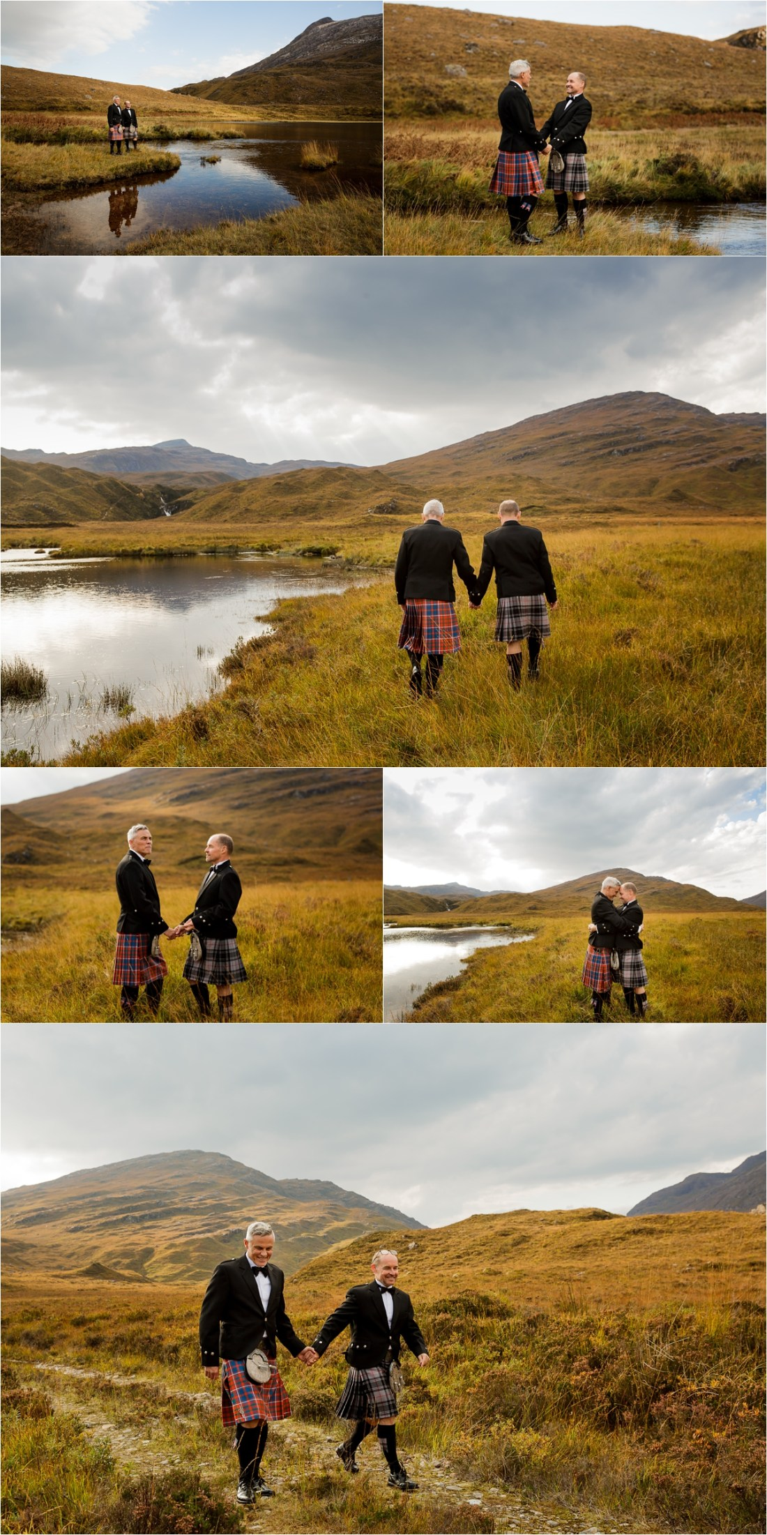 The two grooms walk along the side of the lake in Scotland by Lynne Kennedy Photography