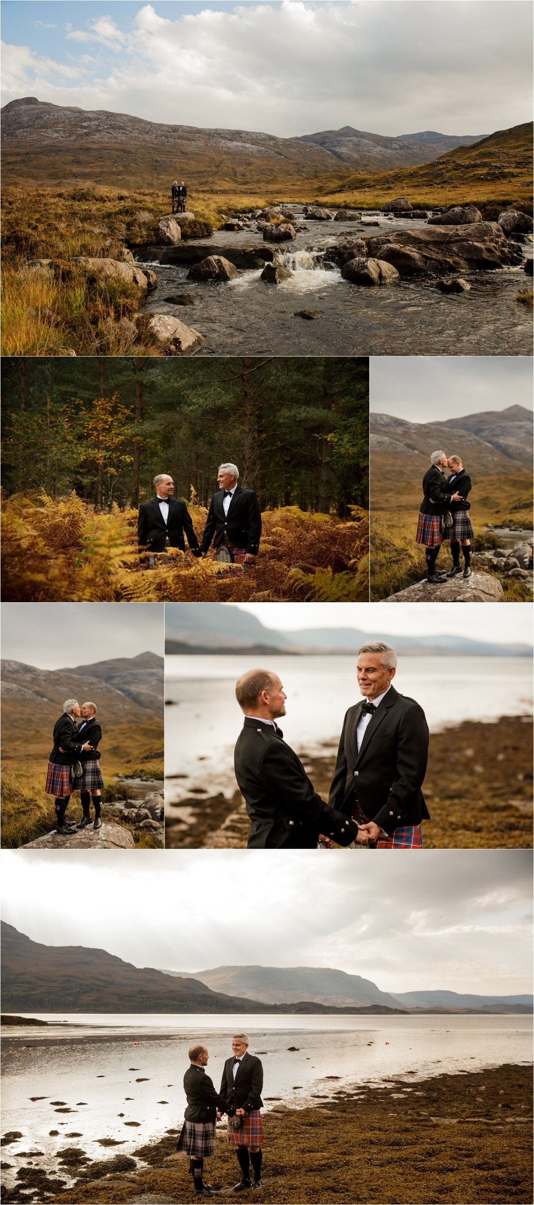 Two grooms in Kilts for this enchanting elopement in Scotland by Lynne Kennedy Photography