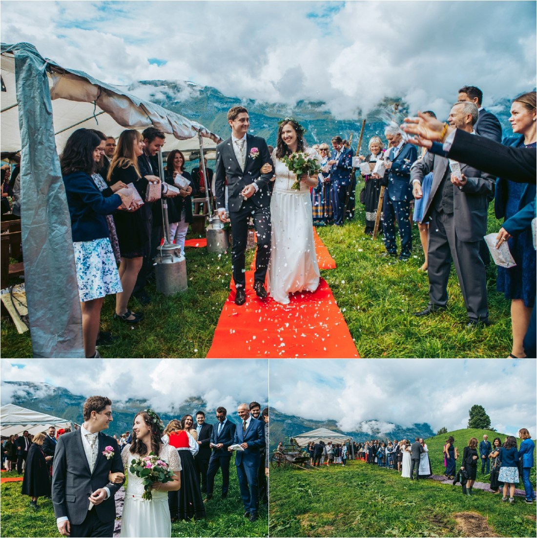 The bride and groom walk down a red carpet as confetti is thrown in Norway by Fotograf Lene Fossdal