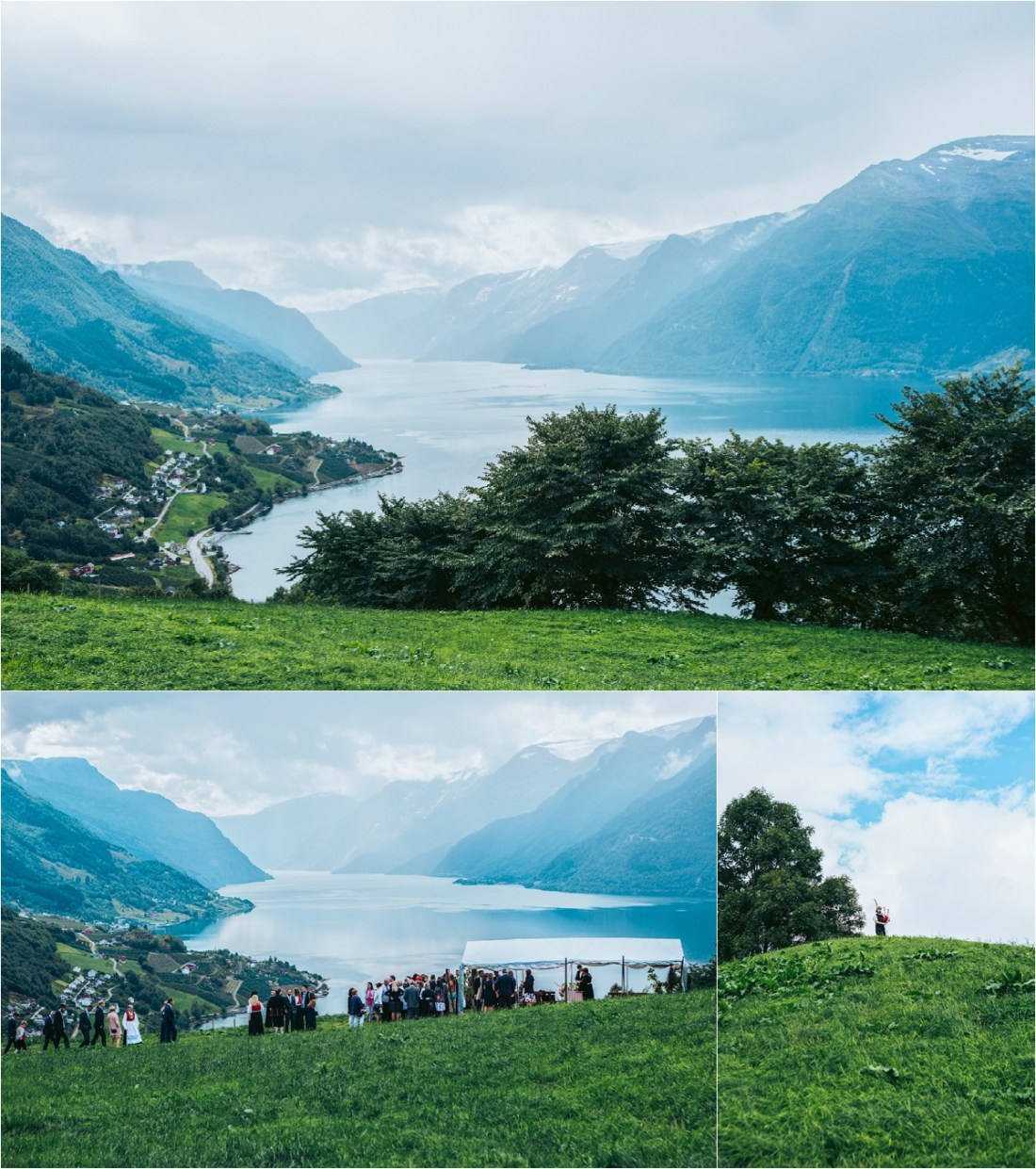 Views of a wedding ceremony location overlooking Hardanger Fjord in Norway by Fotograf Lene Fossdal