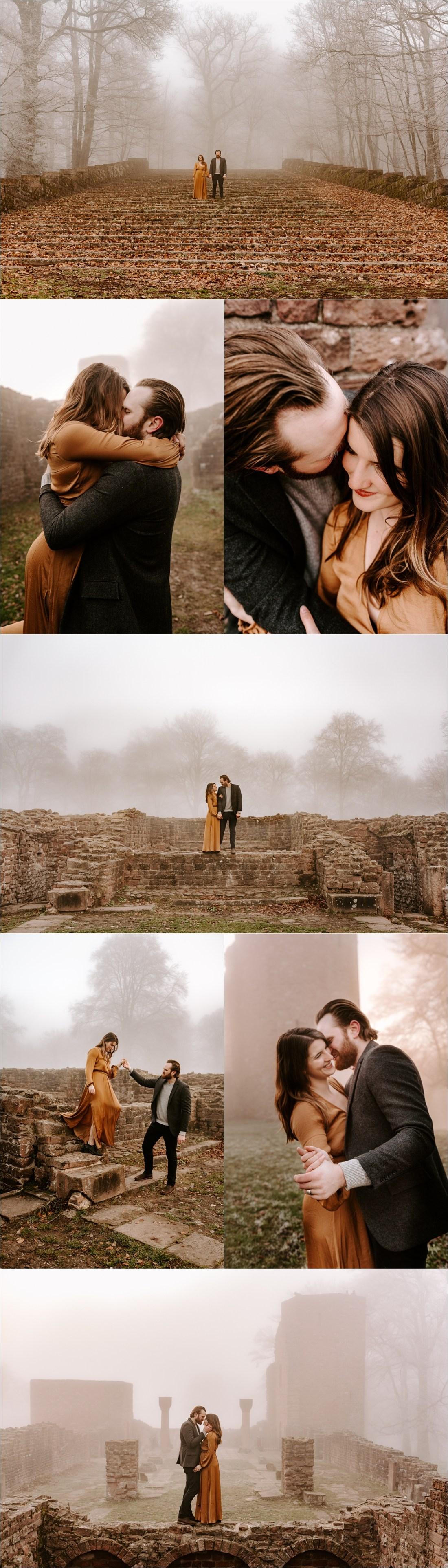 A misty engagement shoot amongst ruins in Heidelberg Germany by Courtney Lynn Photography
