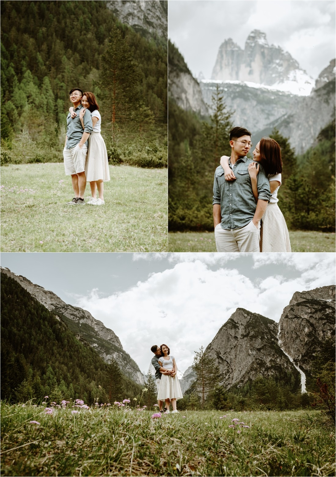 Engagement shoot of a Chinese couple in a mountain meadow in the Dolomites. Photo by Wild Connections Photography