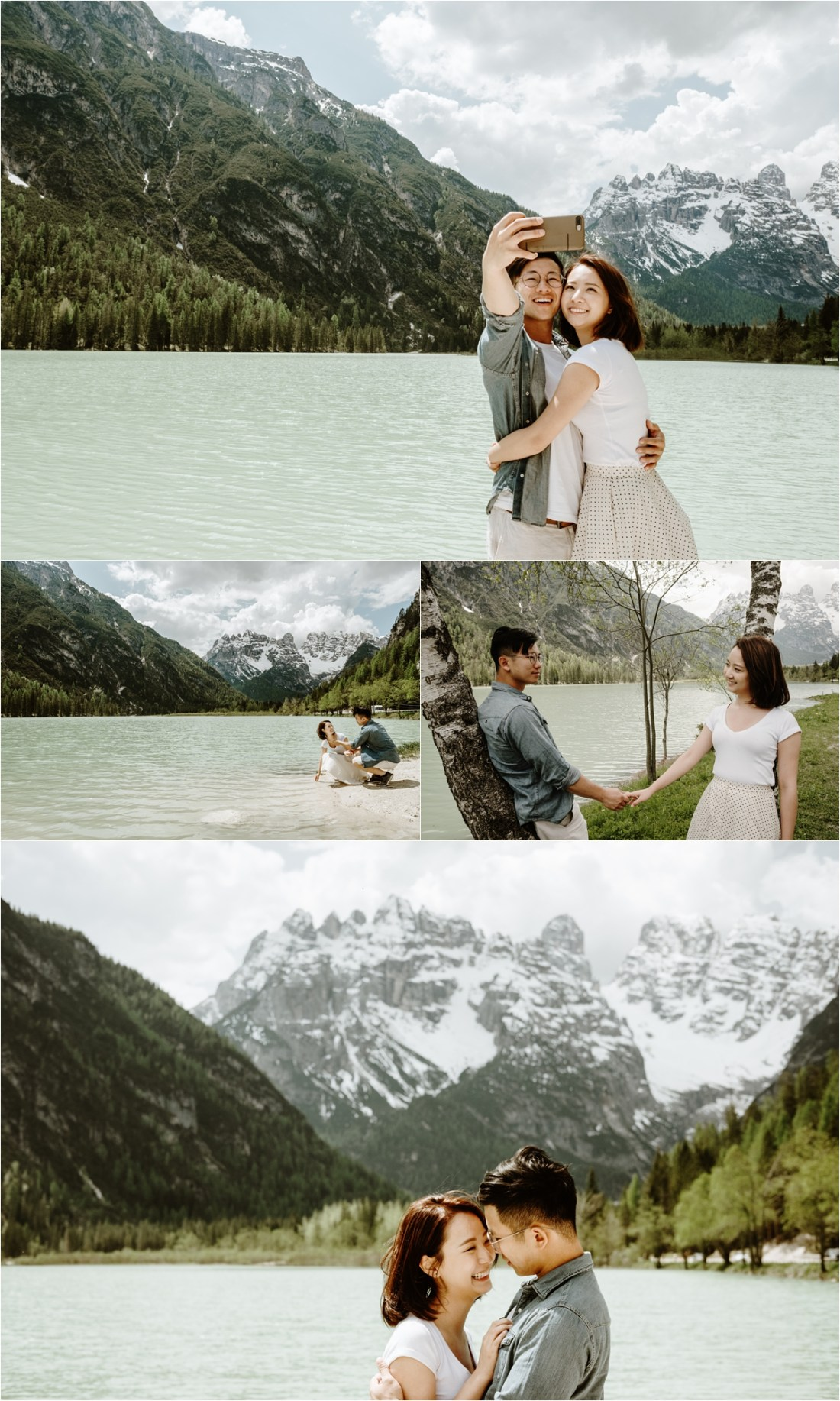 Chinese couple take selfie at a lake in the Dolomites. Photo by Wild Connections Photography