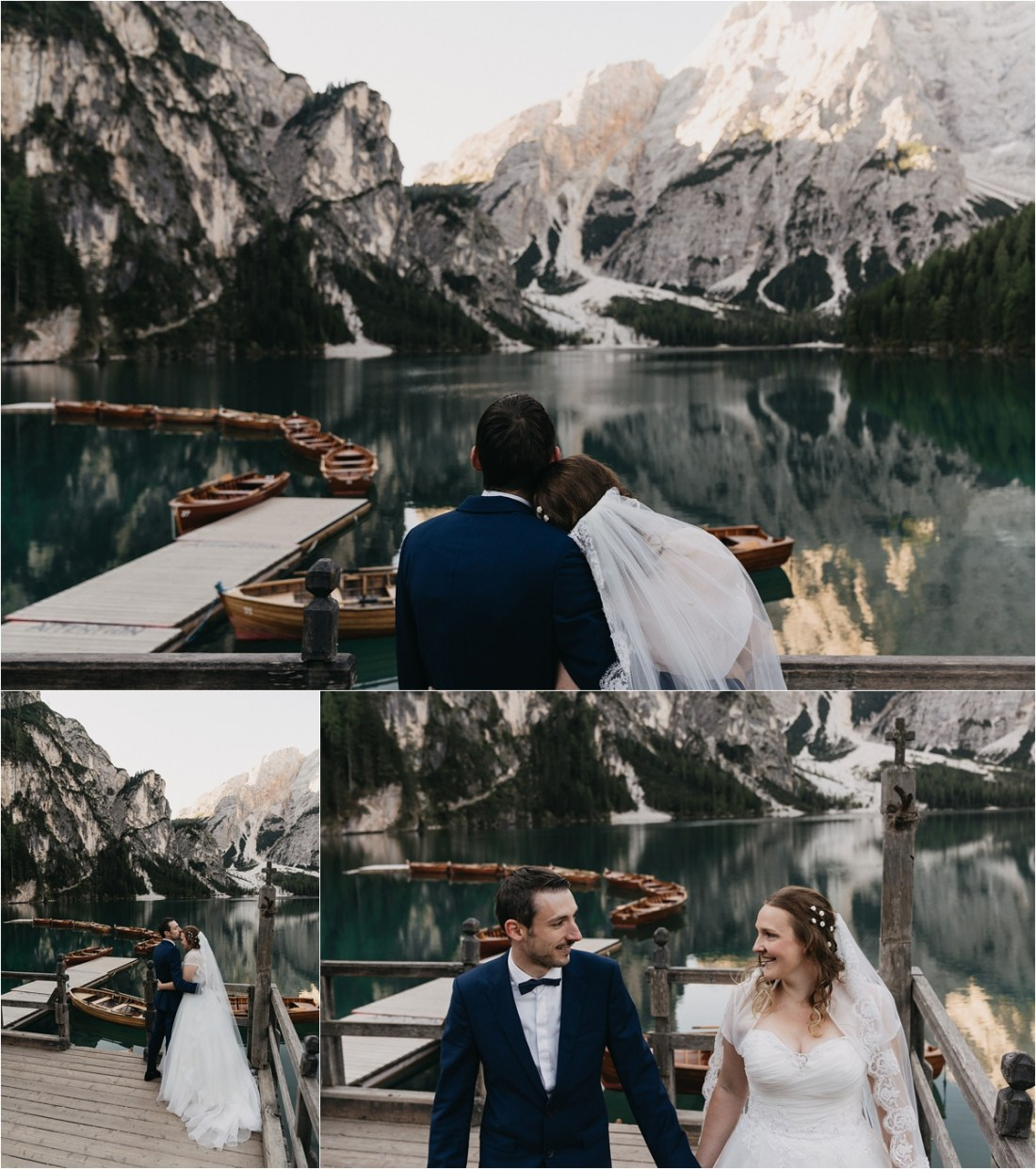Bride and groom on the boat house at Pragser Wildsee by Christina Puszkar