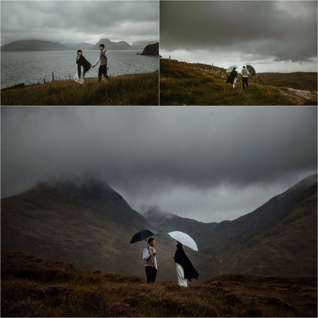 Bride and groom with umbrellas at teh Elgol elopement on the Isle of Skye. Photo by The Caryls Photography