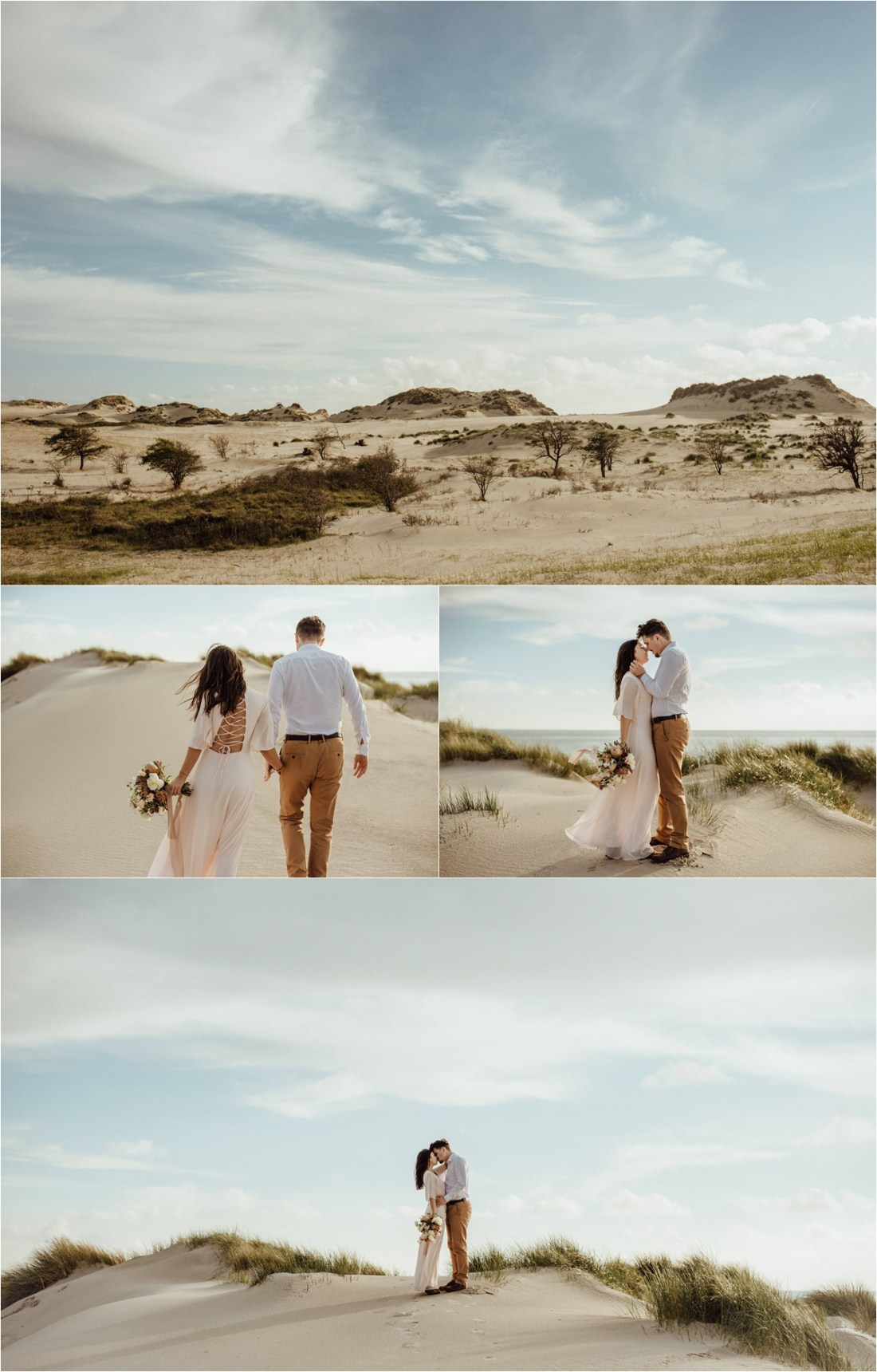 Newlyweds hike across the sand dunes in the Netherlands. Photography by The Wandering Childe