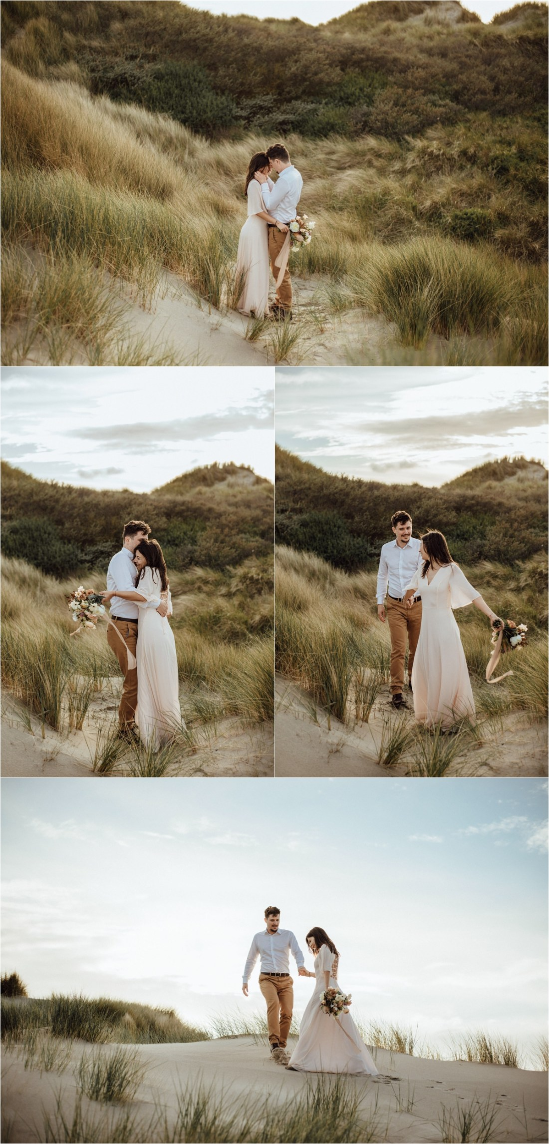 Newly married couple walk through the long grass on the sand dunes in the Netherlands. Photography by The Wandering Childe