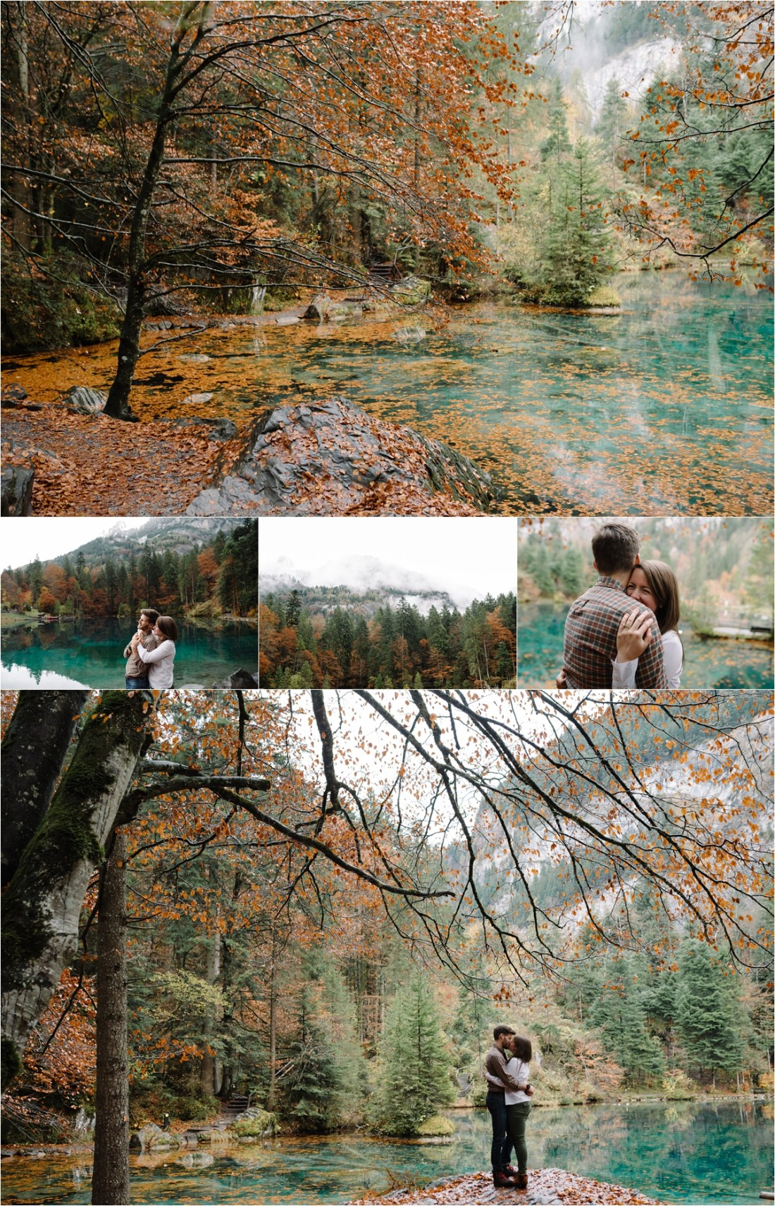 A married couple celebrate their anniversary at Lake Blausee in Switzerland by Caroline Hancox Photography