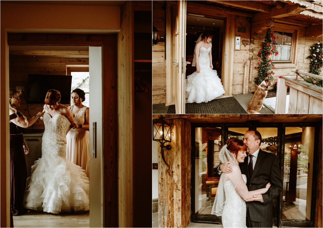 The bride Emma getting ready in her mountain chalet in Gerlos Austria. Photos by Wild Connections Photography