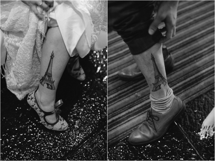 Cliff top Hand fasting of Jon and Sara, on the Cliffs of Moher, Co Clare, Ireland Captured by Photographers Seandkate Jon & Sara's matching Eifel tower tattoos to remember where they got engaged