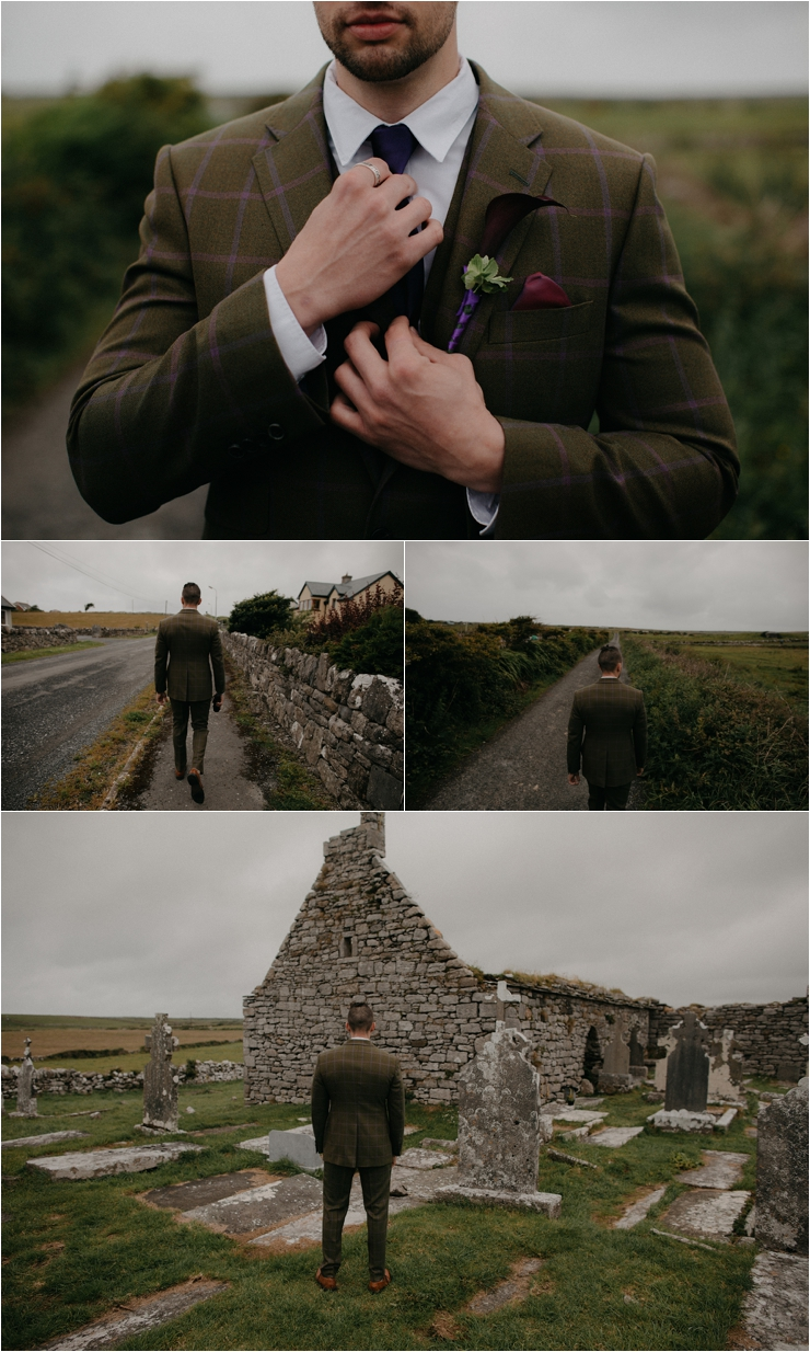 Cliff top Hand fasting of Jon and Sara, on the Cliffs of Moher, Co Clare, Ireland Captured by Photographers Seandkate the groom walks to the location for the first look