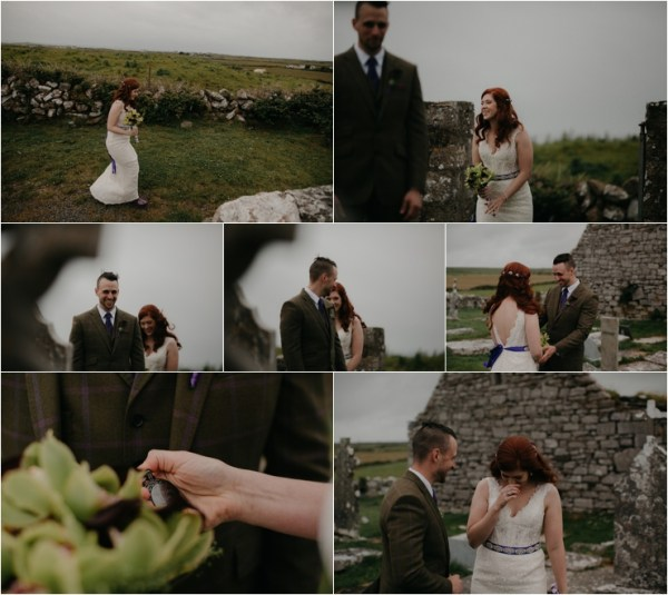 Cliff top Hand fasting of Jon and Sara, on the Cliffs of Moher, Co Clare, Ireland Captured by Photographers Seandkate The bride Sara arrives for the first look and is happy and emotional to see Jon