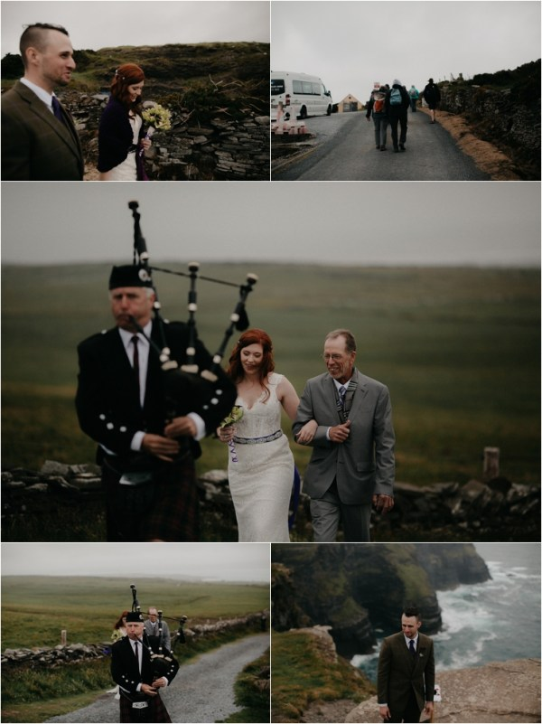 Cliff top Hand fasting of Jon and Sara, on the Cliffs of Moher, Co Clare, Ireland Captured by Photographers Seandkate the wedding party walk to the ceremony location behind a bagpipe player