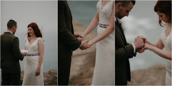 Cliff top Hand fasting of Jon and Sara, on the Cliffs of Moher, Co Clare, Ireland Captured by Photographers Seandkate the couple join hands for the handfastening ceremony