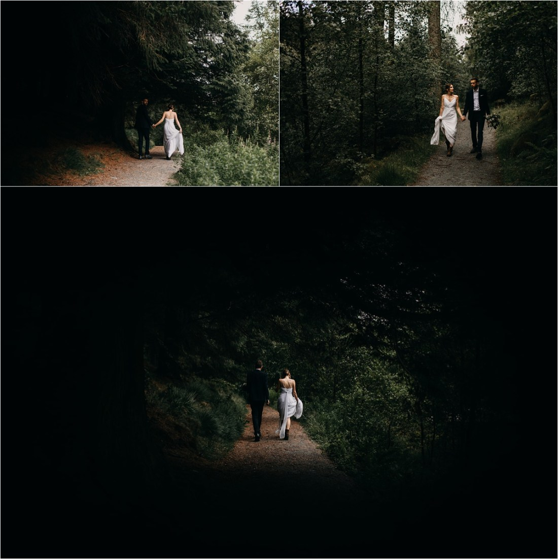 Bride and groom walking to Blea Tarn in the Lake District in England on their wedding day. Photos by Unfurl Photography