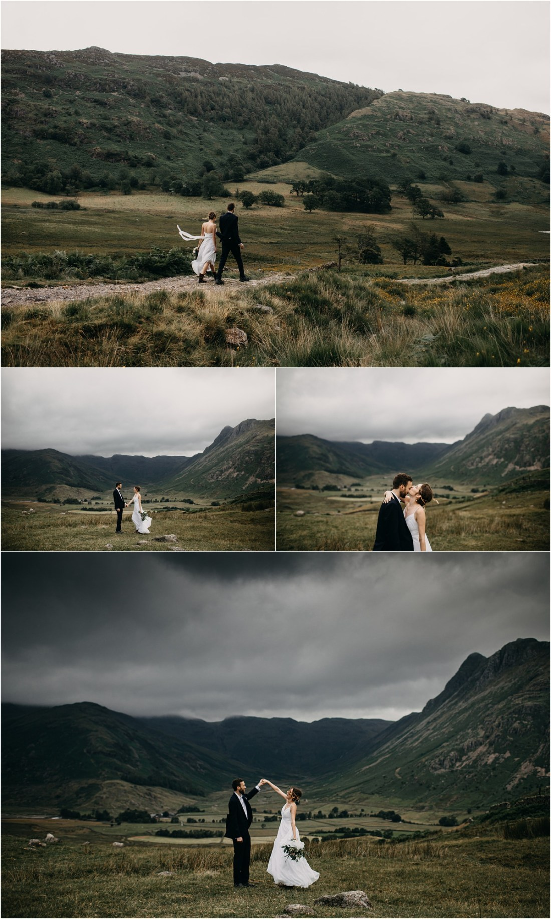 An elopement wedding at Blea Tarn in the Lake District in England. Photos by Unfurl Photography