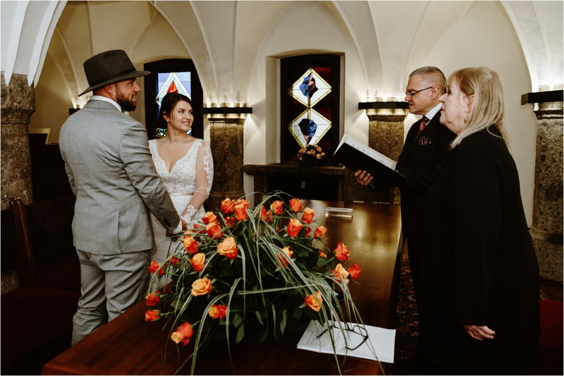 A courthouse elopement ceremony at the golden roof in Innsbruck by Wild Connections Photography