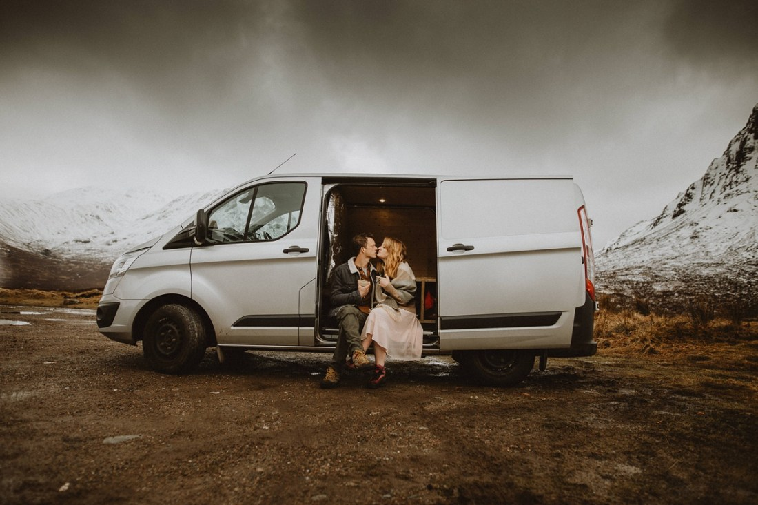 Vanlife engagement session in Glen Coe, Scotland by Unfurl Photography