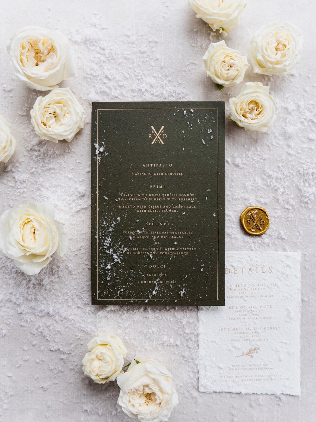 winter wedding in Cortina d'Ampezzo invitation