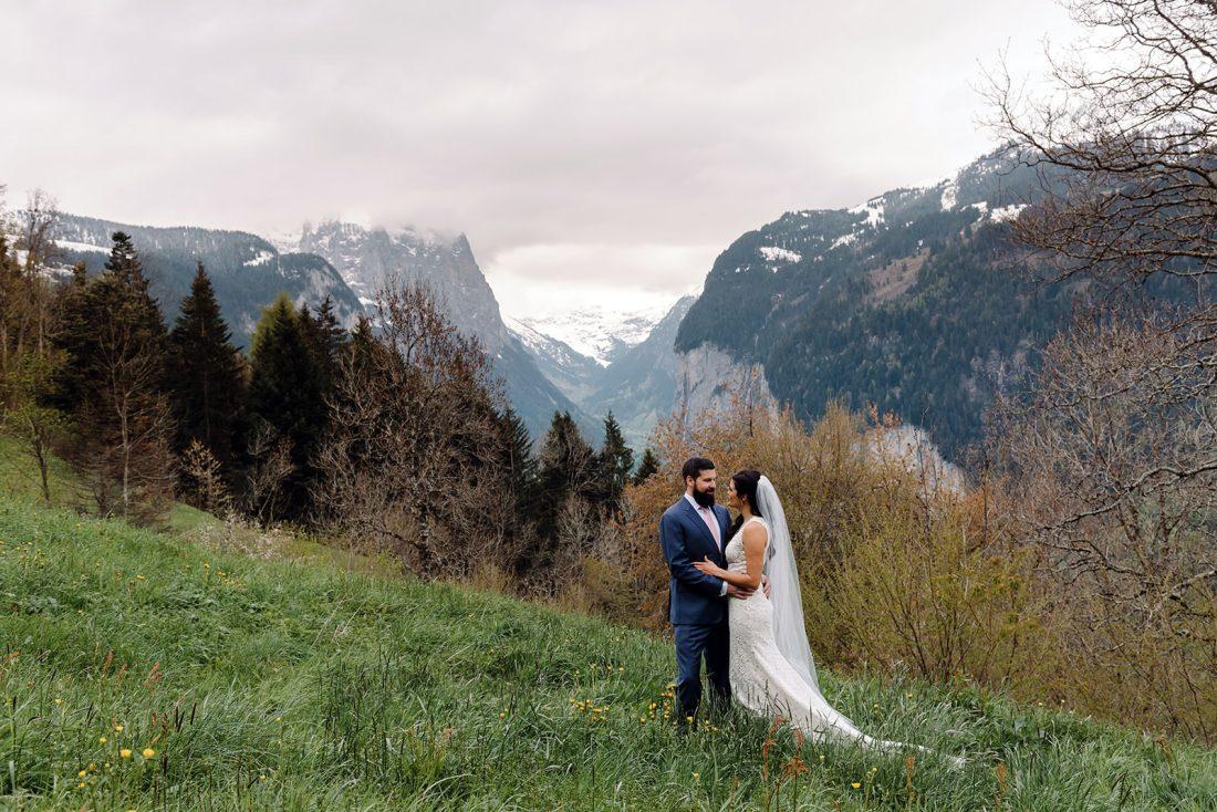 Swiss Alps elopement in Wengen