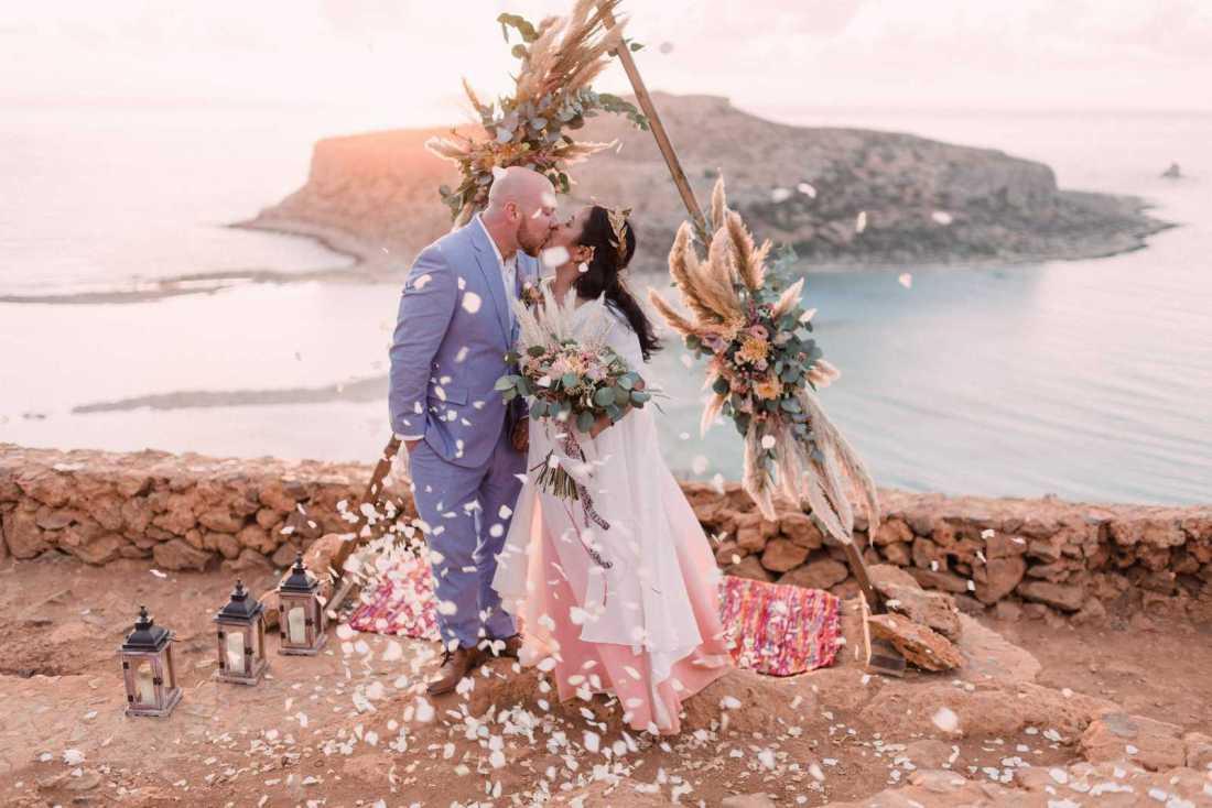 Intimate elopement in Crete, Greece
