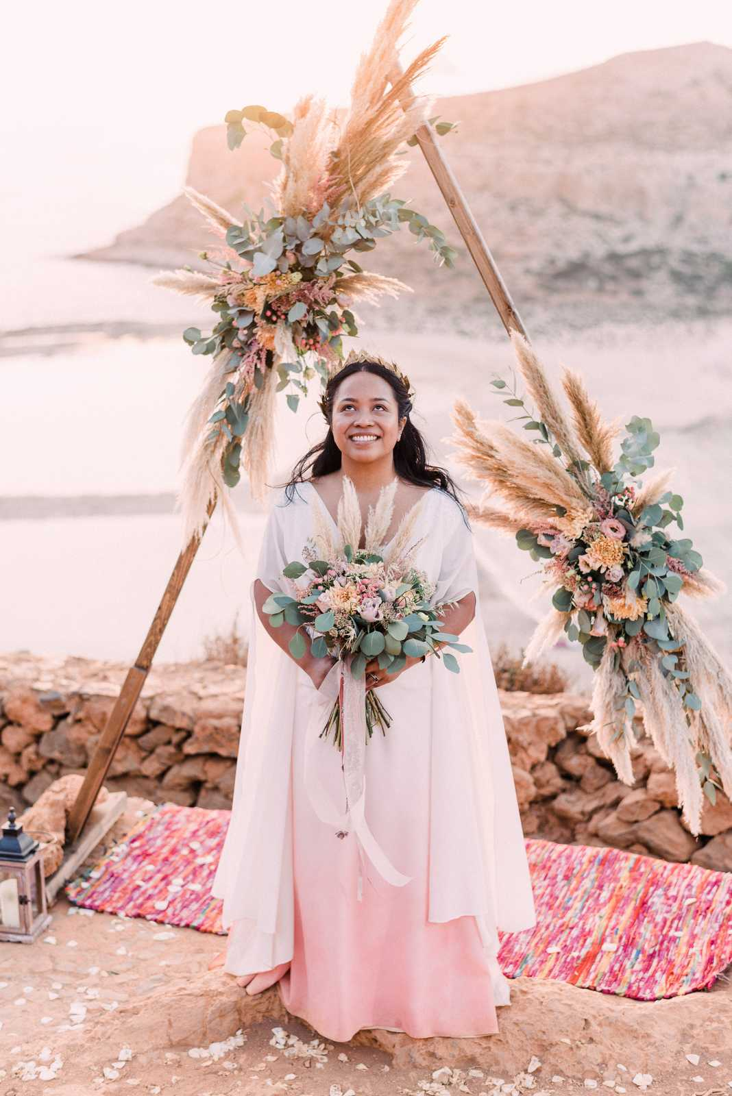 Greek goddess bridal style for an elopement in Crete