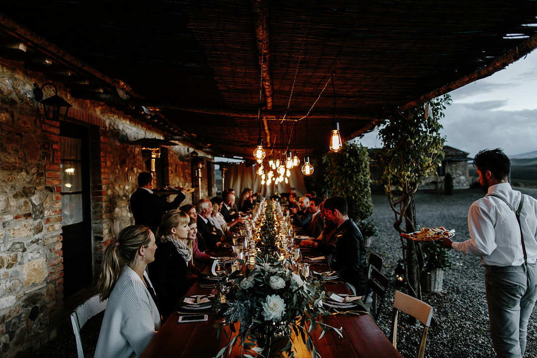 Reception at Locanda in Tuscany wedding venue