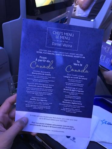 Air Transat vlucht naar Canada menu