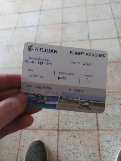 Geschreven vliegticket air juan filipijnen