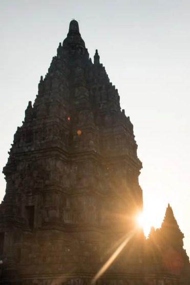 Prambanan tempel yogyakarta zonsondergang