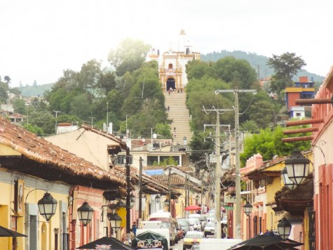 San Cristobal de las Casas uitzicht op kerk