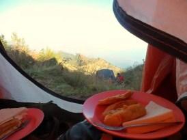 ontbijt trekking rinjani