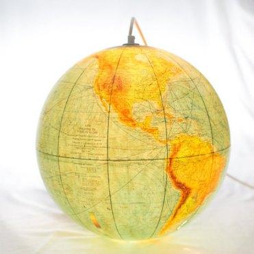 wereldbol lamp earth light wire vintage
