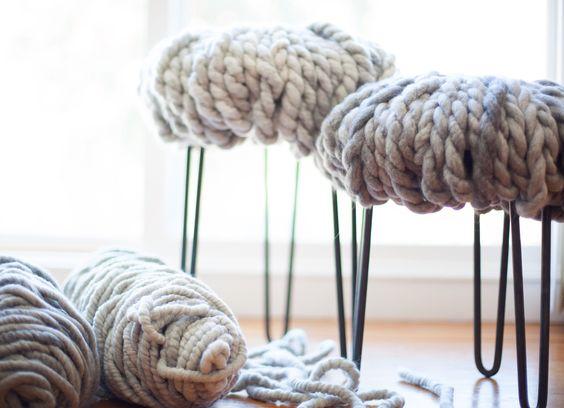 Knit otomans- LOve Fest Fibers ReLove Alpaca yarn